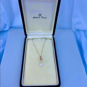 Estate Vintage Mikimoto 10mm Akoya necklace 14k